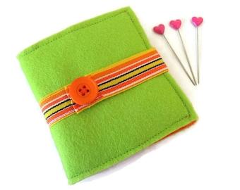 Lime Green Felt Needle Case - Felt Needle Case - Sewing Needle Case - Hand Sewing Needle Case - Needle Book