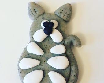 Polymer Clay Cat Fridge Magnet, Kawaii Fridge Magnet. Handmade Refrigerator Magnet, Grey Cat Magnet. Kitchen Decor, Collectible Magnet