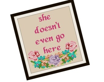 HALLOWEEN SPECIAL SALE Mean Girls Cross Stitch Pattern - Funny Cross Stitch Pdf - Floral Cross Stitch