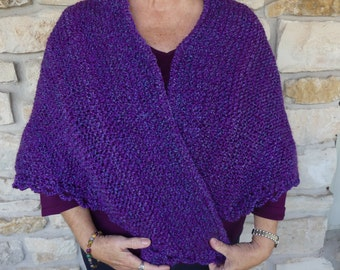 Hand Knitted Super Soft Acrylic Purple Triangle or Prayer Shawl
