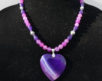 19 Inch Purple and Pink Agate Heart Necklace with Earrings