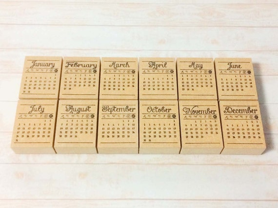 Calendar Stamp Bullet Journal : Calendar stamp monthly set mini
