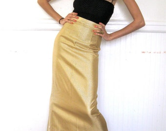 Vintage 1970's Cleopatra Holiday Metallic Gold High Waist Fitted Maxi Skirt Size Small