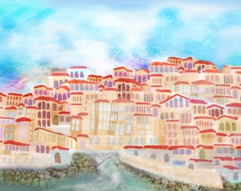 Safed- The kabbalists city- Handpainted-print on paper or on canvas-custom possible