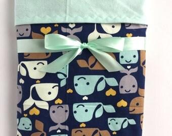 Flannel Baby Blanket - Nautical Blanket - Baby Boy Blanket - Whale Blanket - Swaddle Blanket - Crib Blanket - Cot Blanket - Baby Gifts