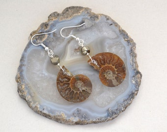 Quality Pyrite and Ammonite Fossil Earrings with Sterling Silver