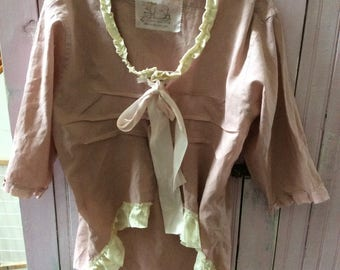 Rose Pink Altered Tunic Top Plus Size Repurposed Magnolia Pearl  Like Vintage Trims Shabby Chic Womens