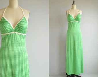 Vintage 1970s Maxi Dress /  70s Polka Dot Halter Sundress / Green White Beach Hostess Dress