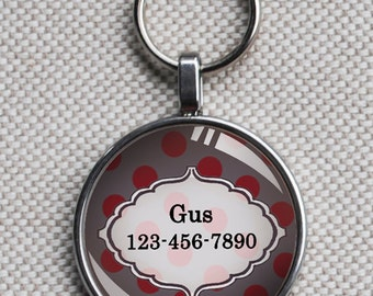 Pet iD tag small round CAT ID small breed Dog Tag Dog tag Cat Tag by California Kitties grey and deep red polka dot round ID CT3345