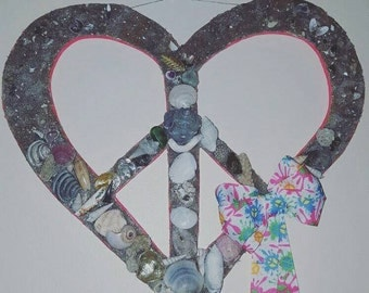 One of a Kind, Sailor's Valentine, Door Hanger, Wall Art, Love & Peace, Hand cut wood, hand collected sand, shells, Peace Symbol