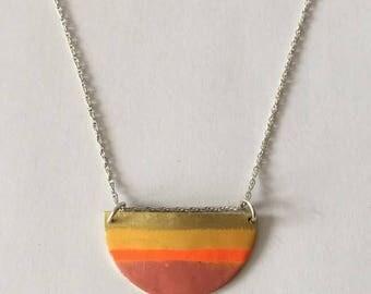 Brass half round enamel necklace