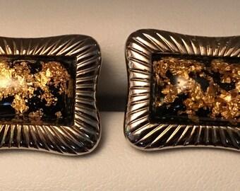 Original Vintage Hickok Monte Carlo Gold Leaf Cufflinks