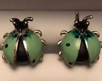 Original Vintage SWANK Green Ladybug Cufflinks