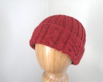 Alpaca Wool Hat, Watch Cap Beanie, Burgundy Red, Hand Knit, Teens Men Women, Luxury Natural Fiber