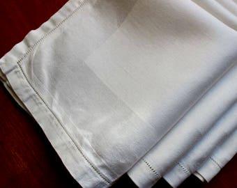 Vintage Linen Napkins Damask 4 Lunch Dinner Size Wide Stripe White Cloth Hemstitch
