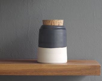 SALE ready made jar. corked canister with basalt glaze on porcelain clay. could be used as an urn.