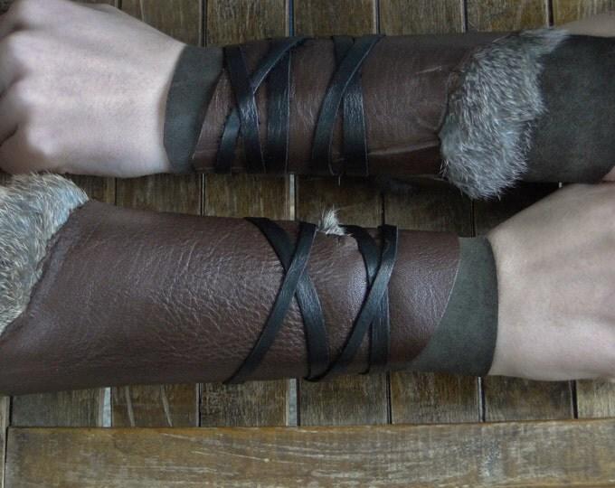 Leather Cuffs - Warrior Viking Tribal Larp Costume Cosplay - Pair #23c