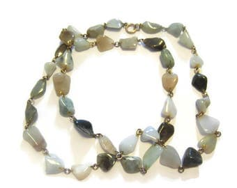 Vintage Green Agate Beaded Necklace 30 inches