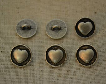 6 Small Heart Metal Shank Buttons - Silver - 1/2 inch