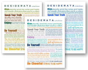 Desiderata Poem by Max Ehrmann - Best Selling Print - 8x8 and 8x10 - Assorted Colors - Home Decor Grad Gift - Design by Ginny Gaura