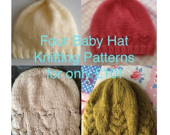 Knitting Pattern Deal, Baby hats, PDF, Instant Download