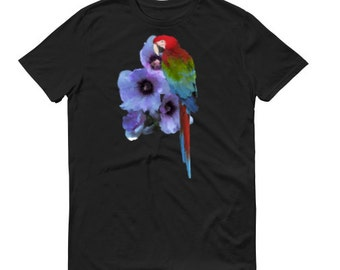 Parrot T-Shirt, Animal T-Shirt, Parrot, Bird Shirt, Wildlife T-Shirt, Macaw T-Shirt, Macaw Shirt, Bird T-Shirt, Floral Print, Floral T-Shirt