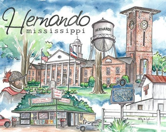 Hernando Mississippi Art Print // Watercolor Painting // MS Artwork // DeSoto County Courthouse