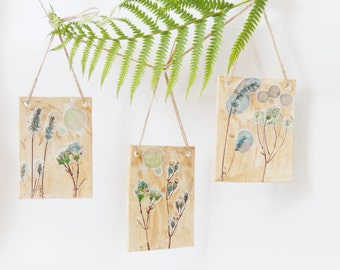 Handmade Botanical Wall Art Ceramic Wall Tiles Wall Hanging ~ Unique Wall Tile Wild Flowers Floral Decor Ceramic Sculpture Ceramic Art UK