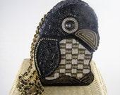 RESERVED KD Gorgeous 1960's Bead and Sequin Paper Mache Parrot Purse, Handbag, Evening Bag. Boho Caribbean Beach Attire.