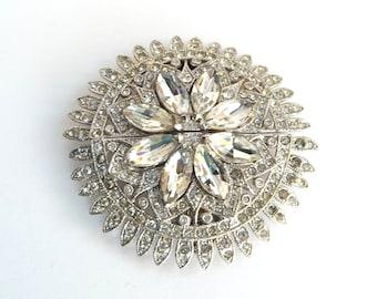 Vintage Coro Duette Brooch Pin Dress Clip Fur Clip Shoe Clip Star Burst Flower Art Deoc Clear Paste Rhinestones from TreasuresOfGrace