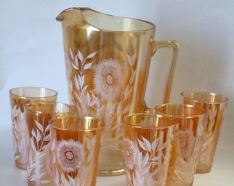 Iridescent Carnival Glass Pitcher and 6 Tumblers.  Jeannette Cosmos Pattern in Terrific Condition. 1949.