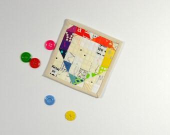 Mini Quilt, Rainbow Quilt, Mini Mini Quilt, Fiber Art, Rainbow Heart Quilt, Valentines Day, Rainbow