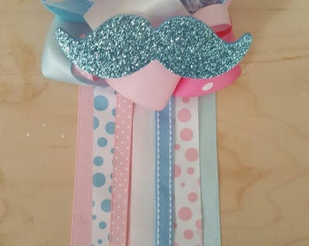 Gender reveal party, mustache and hair bow baby shower pin/corsage