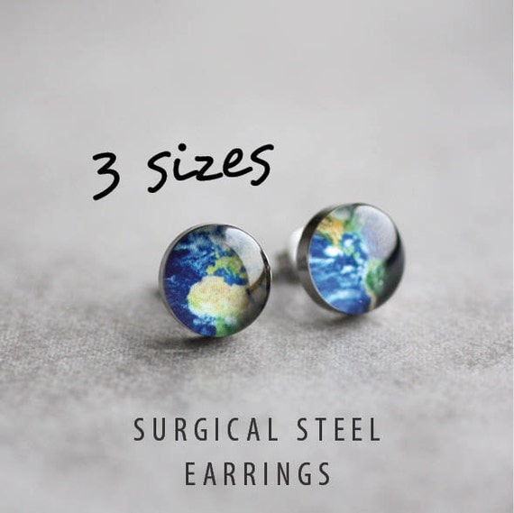 Planet Earth posts, Surgical steel studs, Tiny earring studs