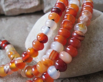 "Rondelle 2.5 mm Big Hole Bead 8 MM Multi Color Carnelian Orange White Gemstone 7.5"" Fit Leather"