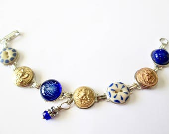 NAVAL ACADEMY, NAVY antique button bracelet, 1800s buttons, silver links. One of a kind