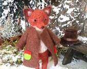 Gentleman fox - Artist  fox, needle felted fox, woodland fox, miniature fox, dollhouse fox, dollhouse animal, dollhouse miniature