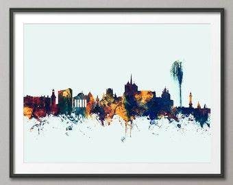 Geneva Skyline, Geneva Switzerland Cityscape Art Print (2679)
