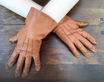 1950s Gloves Tan Brown Leather Ladies Accessories Made in England