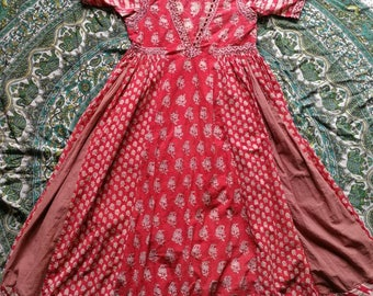 Indian Anokhi red 1960s cotton dress
