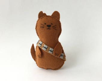 Mewbacca!! - Cat with a Star Wars Wookie theme! Handsewn Felt Toy