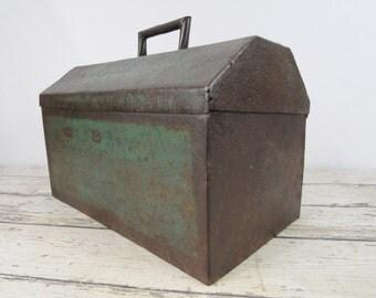 X Large Toolbox Vintage Metal Toolbox Handmade Heavy 35#
