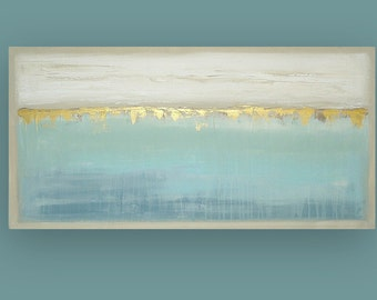 "Original, Painting, Abstract, Acrylic, Art, Abstract Acrylic Fine Art Painting by Ora Birenbaum, Gallery Canvas Titled: Cascade 3 24x48x1.5"""
