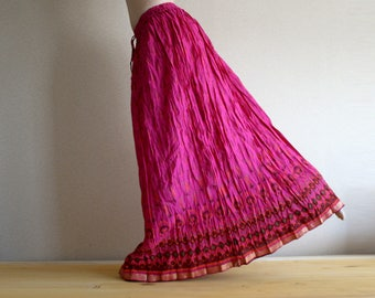 Long skirt - Gypsy Skirt - Maxi Skirt - Peasant Skirt - Bright Pink skirt by Chandrika Shop