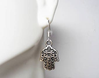 Hamsa Hand Earrings - Antique Silver Plated Pewter