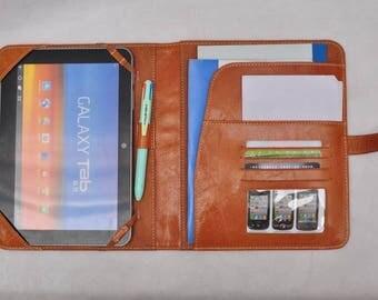 iPad 3 folio case ipad 4 cover ipad Leather Padfolio, ipad mini retina leather folio, ipad air 2 notepad portfolio notebook folio  in brown