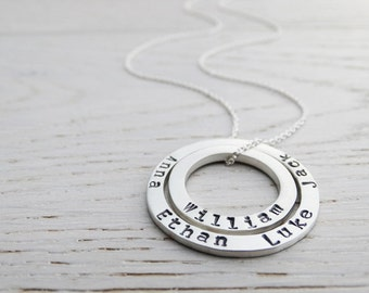 Personalised Double Silver Circle Necklace With Hand Stamped Names - Sterling Silver