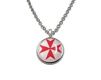 Red Maltese Cross Pendant Necklace