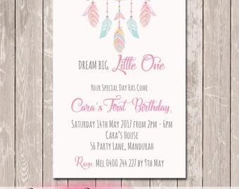 Dreamcatcher Personalised Birthday Invitation - YOU PRINT