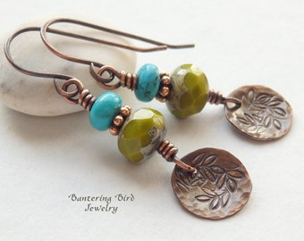 Southwestern Earrings, Rustic Copper Disc Dangle with Stamped Leaves, Genuine Turquoise and Olive Green Czech Glass Beads, Copper Jewelry